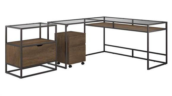 """L Shaped Desks Bush 60""""W Glass Top L-Shaped Desk with Lateral and Mobile File Cabinets"""
