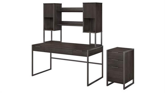 """Writing Desks Bush 60""""W Writing Desk with Hutch and 3 Drawer File Cabinet"""