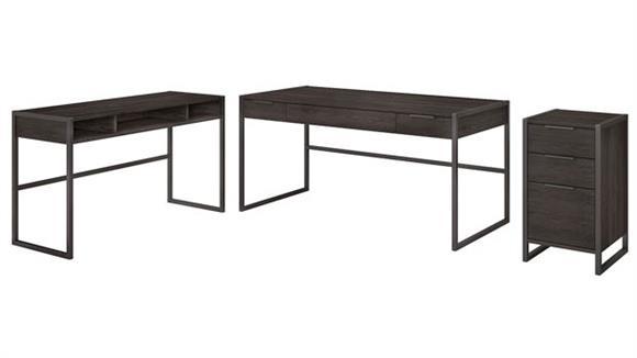 """L Shaped Desks Bush 60""""W L Shaped Desk with 3 Drawer File Cabinet"""