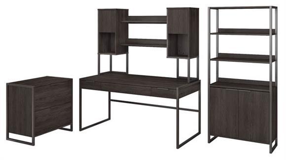 "Computer Desks Bush 60""W Writing Desk with Hutch, Lateral File Cabinet and 5 Shelf Bookcase"
