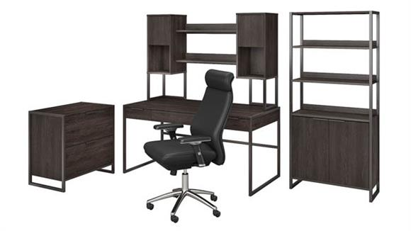 """Computer Desks Bush 60""""W Desk with Hutch, File Cabinet, Bookcase and High Back Office Chair"""