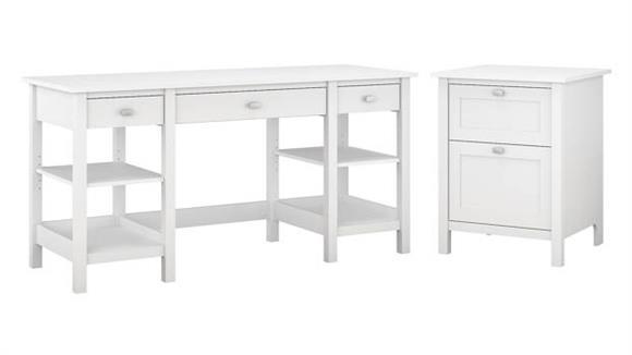 """Computer Desks Bush 60""""W Desk with Storage Shelves and 2 Drawer Vertical File Cabinet"""