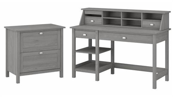 "Computer Desks Bush 54""W Computer Desk with Shelves, Desktop Organizer and Lateral File Cabinet"