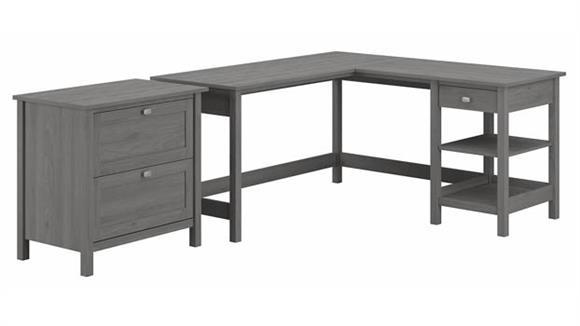 "Computer Desks Bush 60""W L-Shaped Computer Desk with 2 Drawer Lateral File Cabinet"