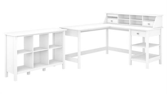 "L Shaped Desks Bush 60""W L-Shaped Computer Desk with Desktop Organizer and 6 Cube Bookcase"