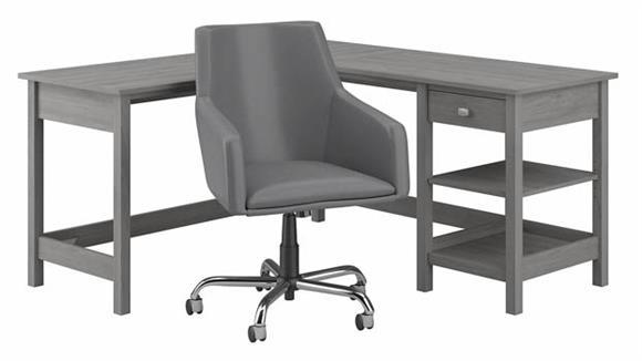 """Computer Desks Bush 60""""W L-Shaped Computer Desk and Chair Set"""