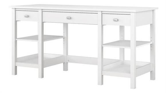 "Computer Desks Bush 60""W Desk with Storage Shelves and Drawers"