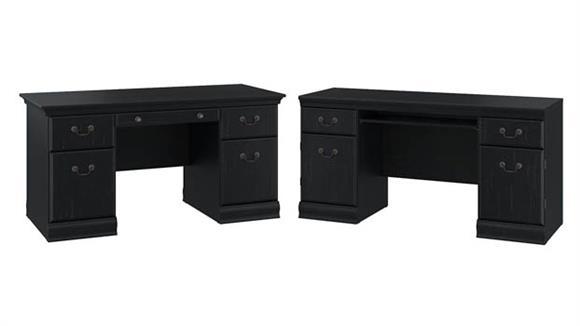 """Executive Desks Bush 60""""W Executive Desk with Credenza"""