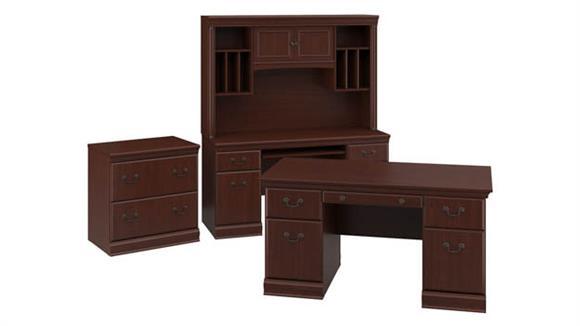 "Executive Desks Bush 60""W Executive Desk, Credenza with Hutch and Lateral File Cabinet"