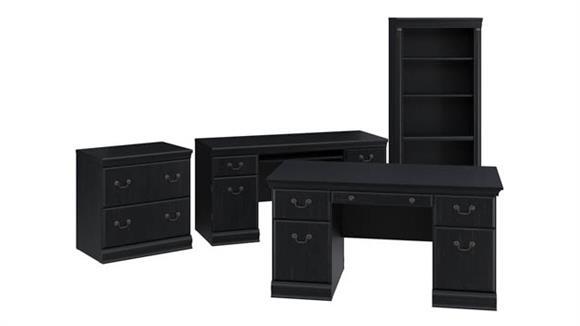 """Executive Desks Bush 60""""W Executive Desk, Credenza, Lateral File Cabinet and 5 Shelf Bookcase"""