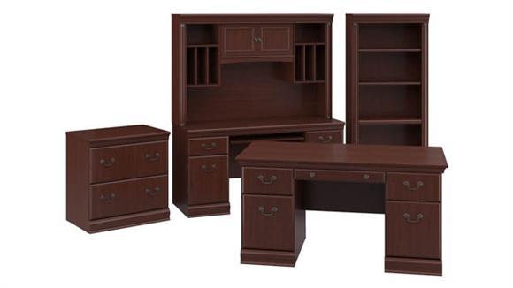 """Executive Desks Bush 60""""W Executive Desk, Credenza with Hutch, Lateral File Cabinet and 5 Shelf Bookcase"""