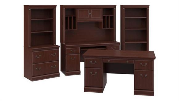 """Executive Desks Bush 60""""W Executive Desk, Credenza, Lateral File Cabinet, Hutches and 5 Shelf Bookcase"""