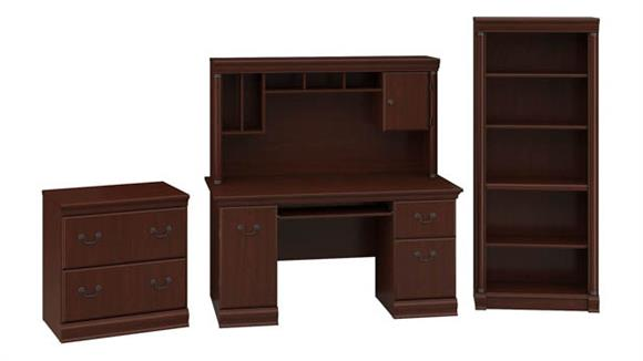 Executive Desks Bush Office Desk with Hutch, Lateral File Cabinet and 5 Shelf Bookcase