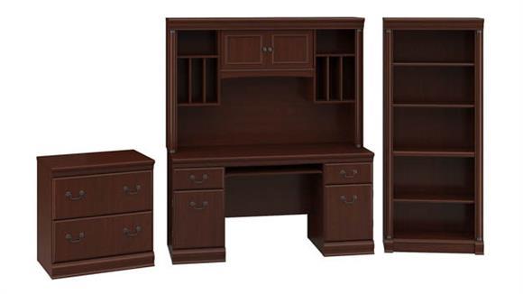 Executive Desks Bush Credenza Desk with Hutch, Lateral File Cabinet and 5 Shelf Bookcase
