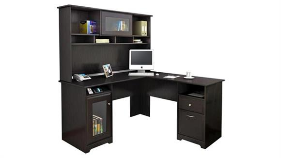 """L Shaped Desks Bush 60"""" W L-Shaped Computer Desk with Hutch"""