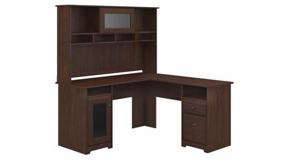 """L Shaped Desks Bush 60""""W L-Shaped Computer Desk with Hutch"""