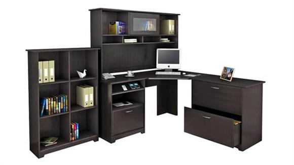 Corner Desks Bush Corner Desk and Hutch with Lateral File and Bookcase