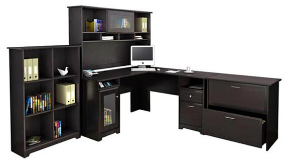L Shaped Desks Bush L Shaped Desk and Hutch with Lateral File and Bookcase