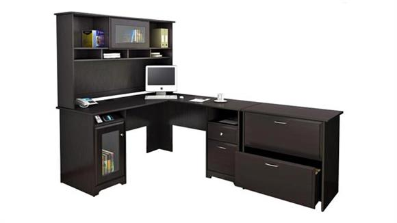 "L Shaped Desks Bush 60""W L-Shaped Desk with Hutch and Lateral File"