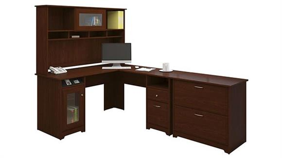 L Shaped Desks Bush L-Shaped Desk with Hutch and Lateral File