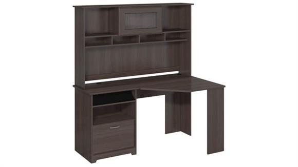 """Corner Desks Bush 60""""W Corner Desk with Hutch"""