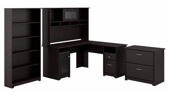 "L Shaped Desks Bush 60"" W L-Shaped Desk with Hutch, Lateral File Cabinet and 5 Shelf Bookcase"