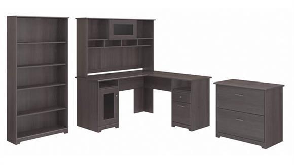 "L Shaped Desks Bush 60""W L-Shaped Desk with Hutch, Lateral File Cabinet and 5 Shelf Bookcase"