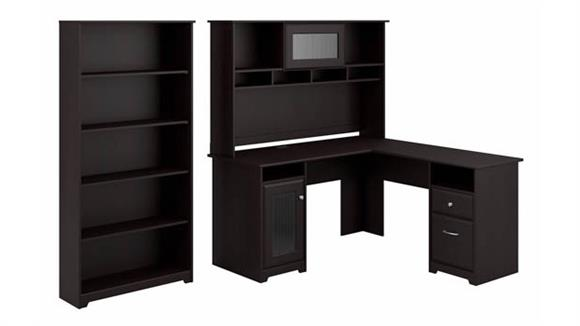 "L Shaped Desks Bush 60"" W L-Shaped Computer Desk with Hutch and 5 Shelf Bookcase"