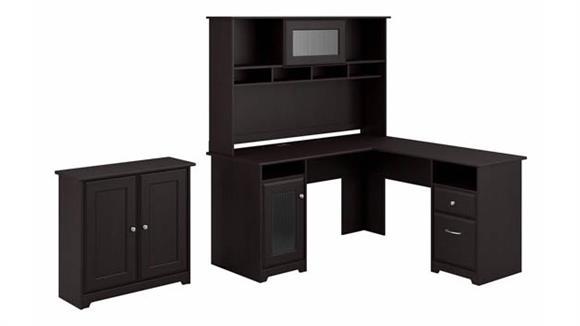 "L Shaped Desks Bush 60"" W L-Shaped Desk with Hutch and Small Storage Cabinet"