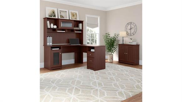 L Shaped Desks Bush  L Shaped Desk with Hutch and Small Storage Cabinet
