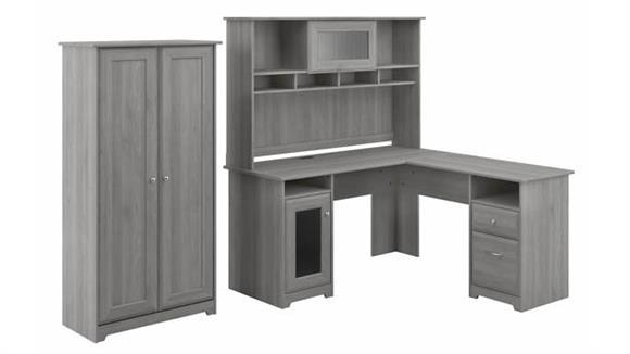 "L Shaped Desks Bush 60"" W L-Shaped Desk with Hutch and Tall Storage Cabinet"