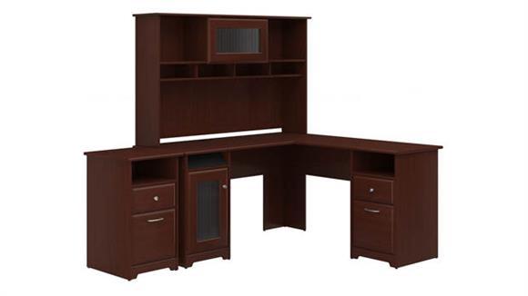 L Shaped Desks Bush L Shaped Desk with Hutch and 2 Drawer File Cabinet