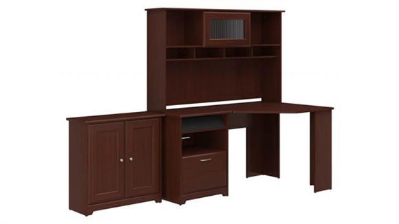 Corner Desks Bush Corner Desk with Hutch and Small Storage Cabinet
