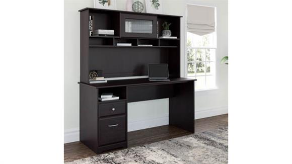 """Computer Desks Bush 60"""" W Computer Desk with Hutch and Drawers"""