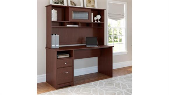 """Computer Desks Bush 60""""W Computer Desk with Hutch and Drawers"""