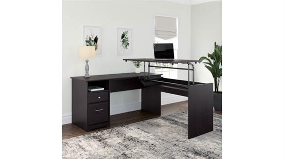 "Adjustable Height Desks & Tables Bush 60"" W 3 Position L Shaped Sit to Stand Desk"
