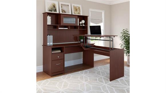 """Adjustable Height Desks & Tables Bush 60""""W 3 Position L Shaped Sit to Stand Desk with Hutch"""