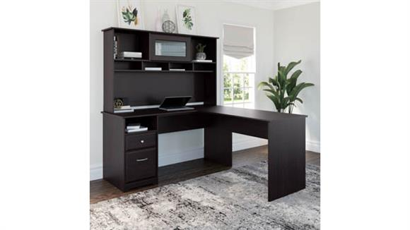 """L Shaped Desks Bush 60"""" W L Shaped Computer Desk with Hutch and Drawers"""