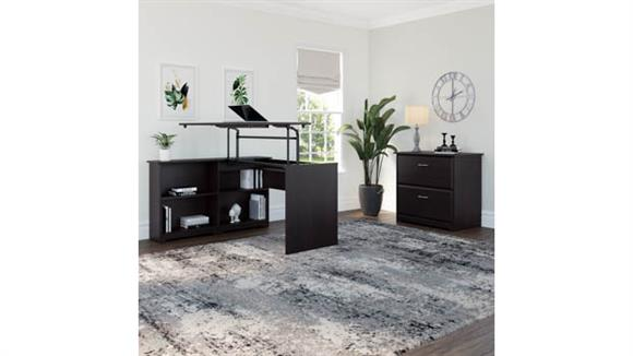 """Adjustable Height Desks & Tables Bush 52"""" W 3 Position Sit to Stand Corner Bookshelf Desk with Lateral File Cabinet"""