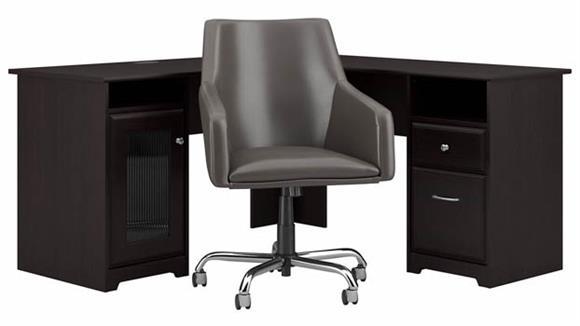 "L Shaped Desks Bush 60"" W L-Shaped Desk with Mid Back Leather Box Chair"