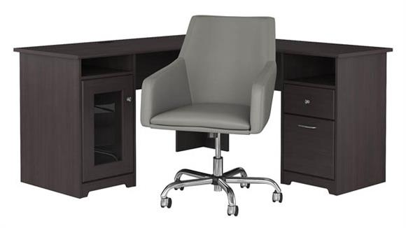 "L Shaped Desks Bush 60""W L Shaped Desk with Mid Back Leather Box Chair"