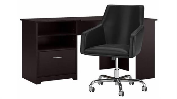 "Corner Desks Bush 60"" W Corner Desk with Mid Back Leather Box Chair"