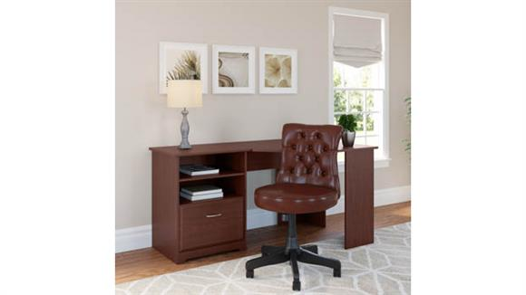 "Corner Desks Bush 60""W Corner Desk with Mid Back Tufted Office Chair"