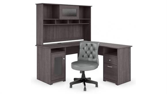 "L Shaped Desks Bush 60""W L Shaped Desk with Hutch and Mid Back Tufted Office Chair"