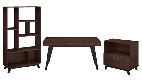 "Writing Desks Bush 60""W x 30""D Writing Desk with Lateral File Cabinet and Bookcase"