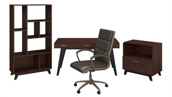 "Writing Desks Bush 60""W x 30""D Writing Desk with Lateral File Cabinet, Bookcase and High Back Leather Office Chair"