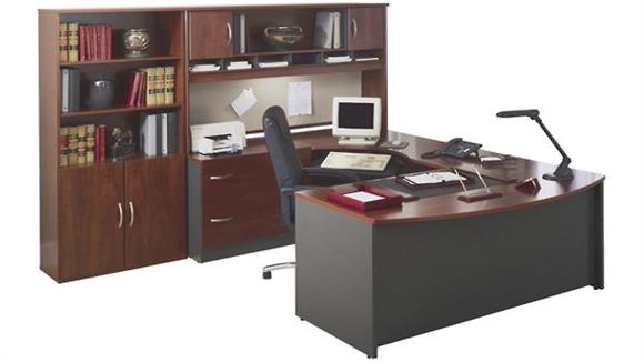 U Shaped Desks Bush U Shaped Desk with Hutch and Bookcase