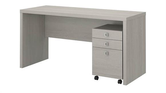 Office Credenzas Bush Credenza Desk with Mobile File Cabinet