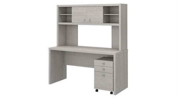 Office Credenzas Bush Credenza Desk with Hutch and Mobile File Cabinet