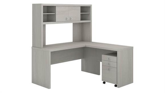 L Shaped Desks Bush L Shaped Desk with Hutch and Mobile File Cabinet